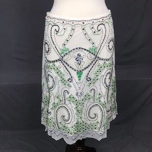 White Midi Skirt with Green and Silver Beading